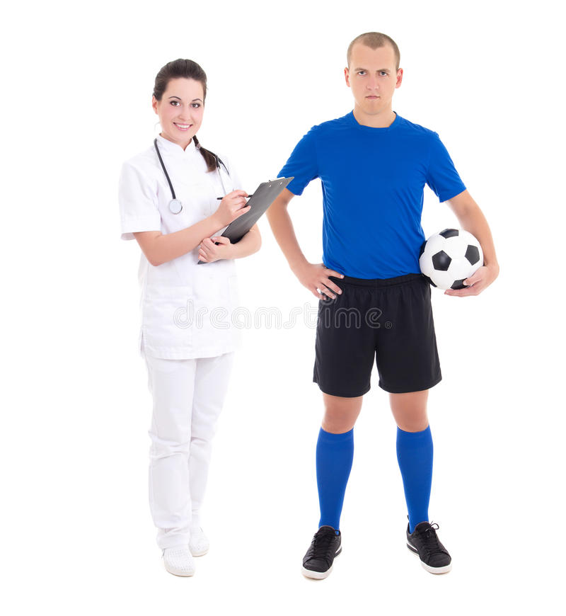Download Young Female Doctor And Soccer Player On White Background Stock Photo - Image: 34400878