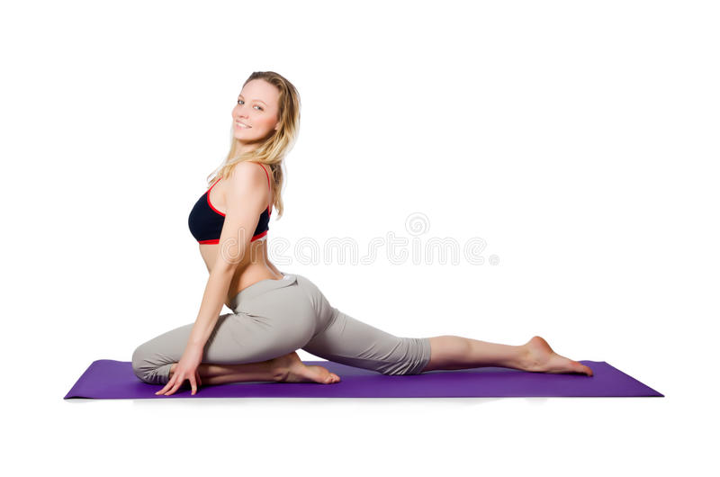 Young female doing exercises. On white royalty free stock photography