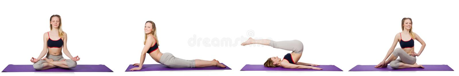 The young female doing exercises on white royalty free stock photo