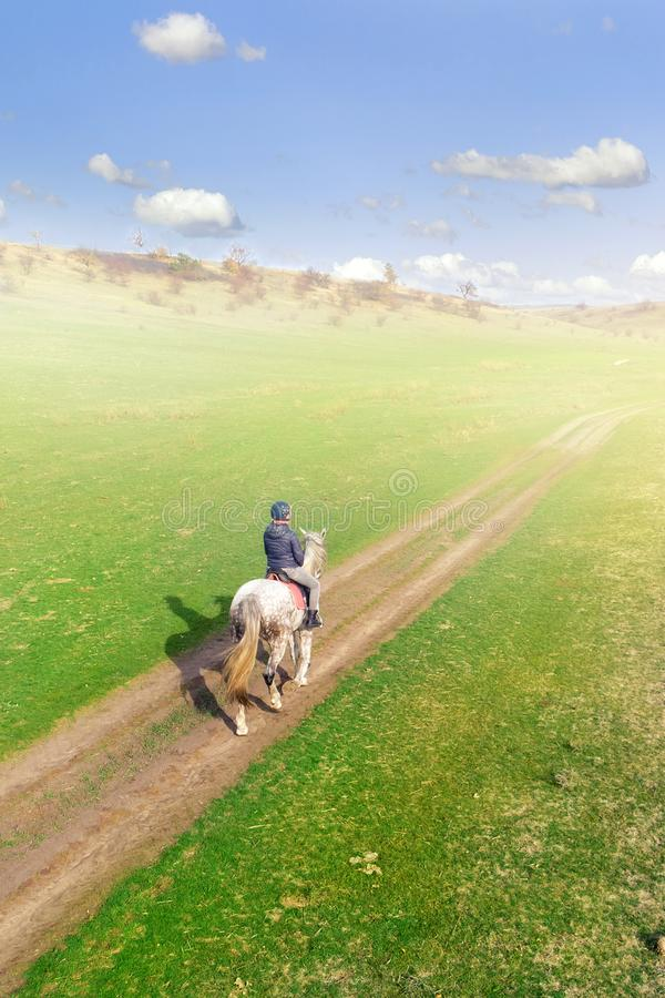 Young female equestrian riding horse along rural countryside. Rider on horseback going through green hillside.Travelling along. stock images