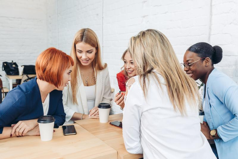 Young female expert makes a presentation at a meeting in the office royalty free stock photo