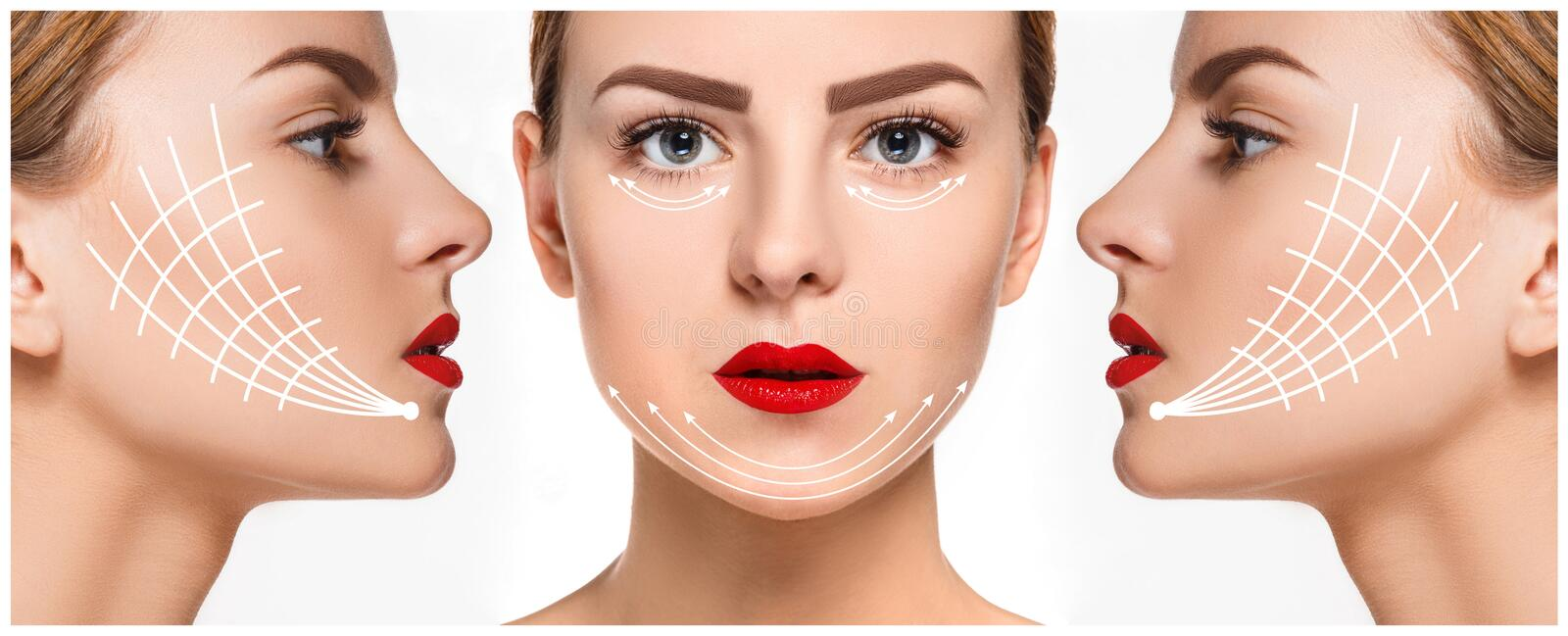 The young female face. Antiaging and thread lifting concept stock photos