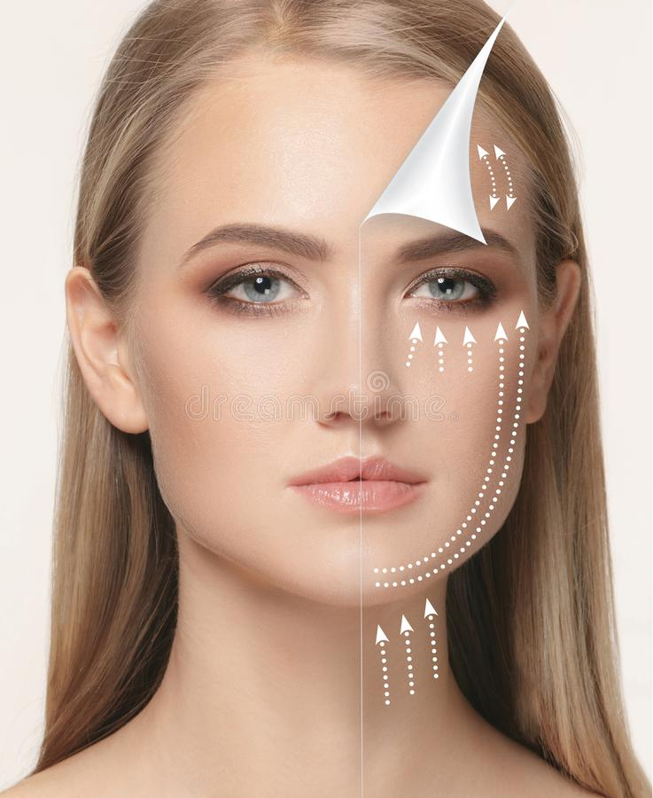 The young female face. Antiaging and thread lifting concept. The portrait of beautiful woman with problem and clean skin, aging and youth concept, beauty royalty free stock photo