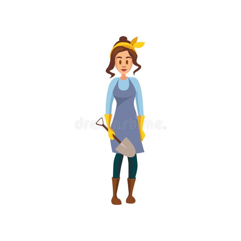 Young female farmer standing with shovel, gardener at work cartoon vector Illustration royalty free illustration