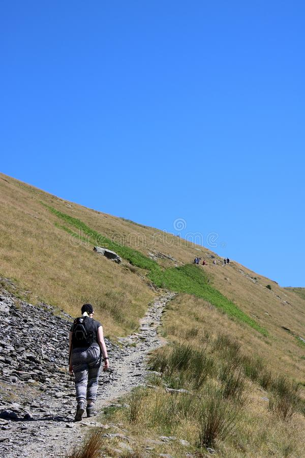 Fellwalker, Mousthwaite Comb, Scales Fell, Cumbria royalty free stock photography