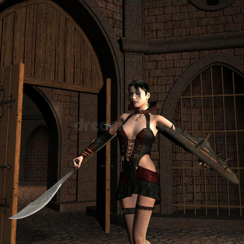 Young female fighter in the Courtyard royalty free illustration