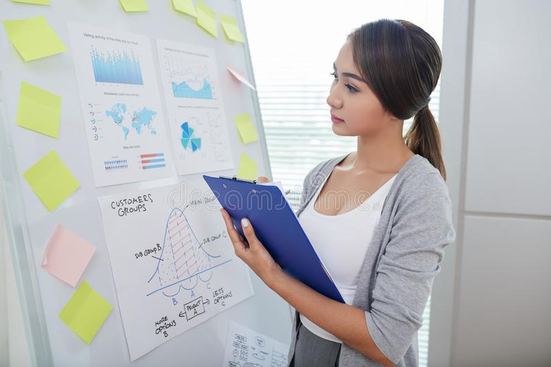 Drawing conclusions. Young female finance analyst looking at charts and diagrams on white board and taking notes royalty free stock photo