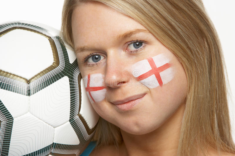 Download Young Female Football Fan With St Georges Flag Stock Photo - Image: 18750436