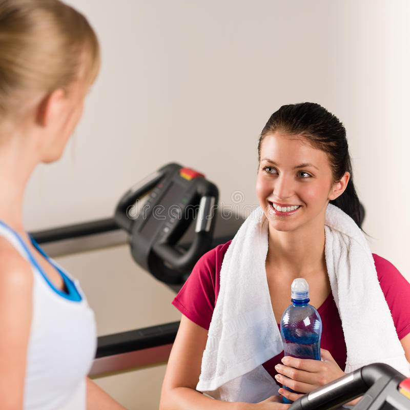 Young Female Friends Chatting In Fitness Center Royalty Free Stock Images