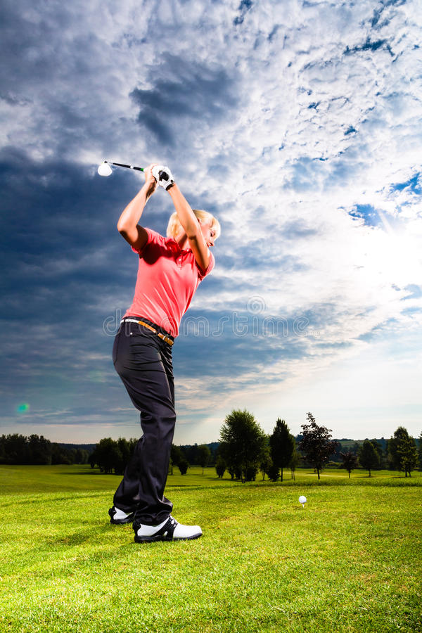 Download Young Golf Player On Course Doing Golf Swing Royalty Free Stock Image - Image: 29801396