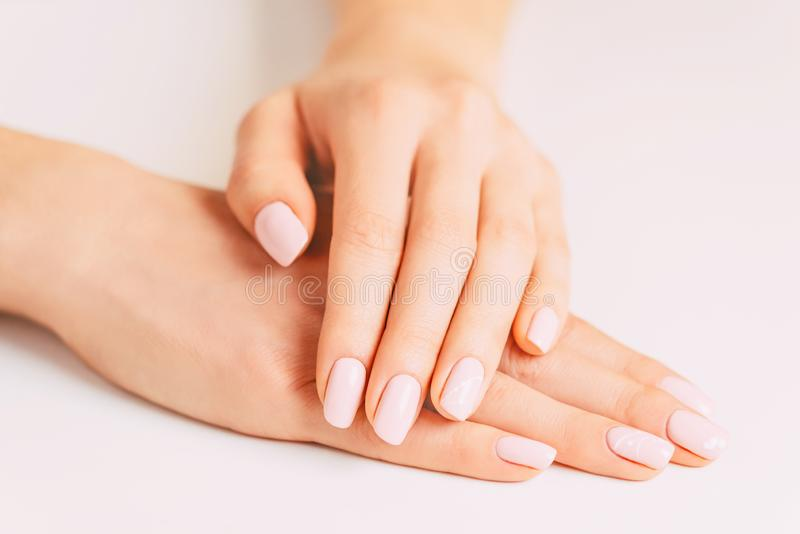 Young female hands with stylish manicure. royalty free stock photography
