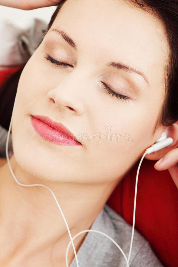 Download Young Female With Headphones Listening Music Stock Photo - Image: 21805106