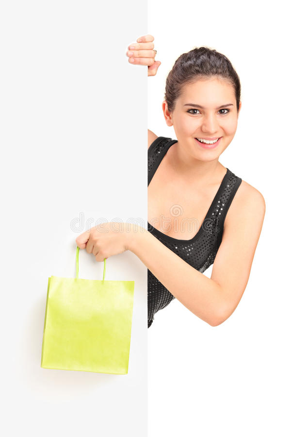 Young Female Holding Bag And Panel Stock Photos