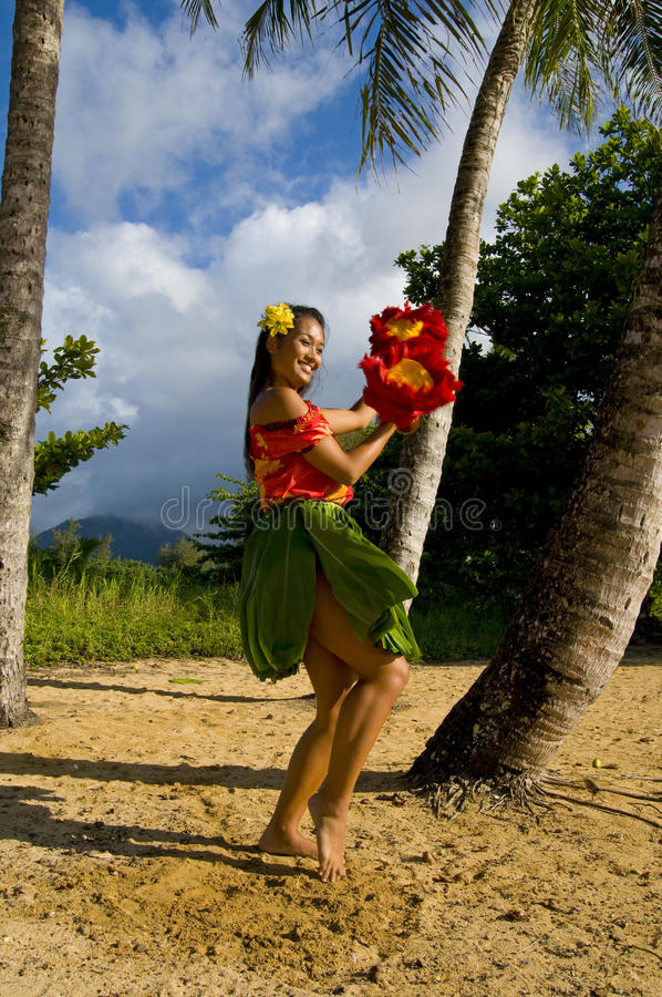 Young female Hula dancer royalty free stock images