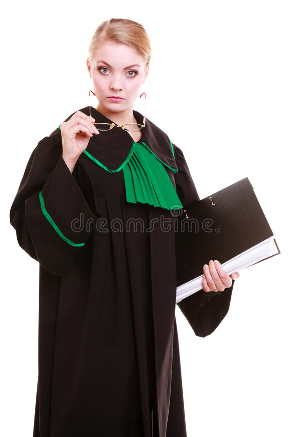 Young female lawyer attorney wearing classic polish black green gown. Law court or justice concept. Young woman lawyer attorney wearing classic polish (Poland) stock images