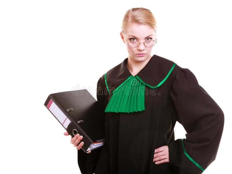 Young female lawyer attorney wearing classic polish black green gown. Law court or justice concept. Young woman lawyer attorney wearing classic polish (Poland) royalty free stock photos