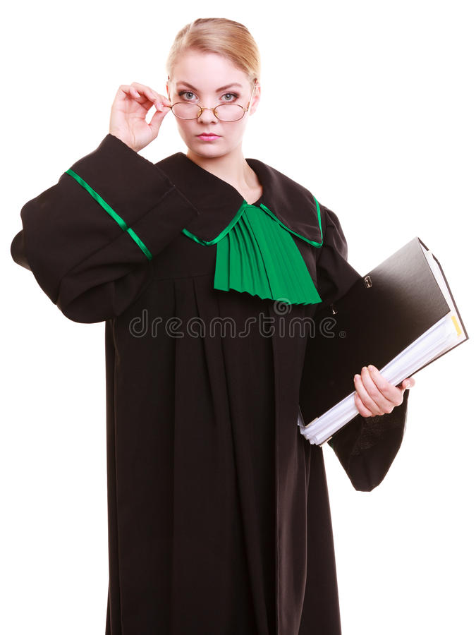 Young female lawyer attorney wearing classic polish black green gown. Law court or justice concept. Young woman lawyer attorney wearing classic polish (Poland) royalty free stock photo
