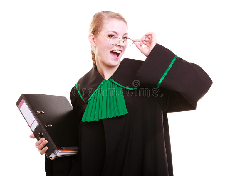 Young female lawyer attorney wearing classic polish black green gown. Law court or justice concept. Young woman lawyer attorney wearing classic polish (Poland) royalty free stock photography