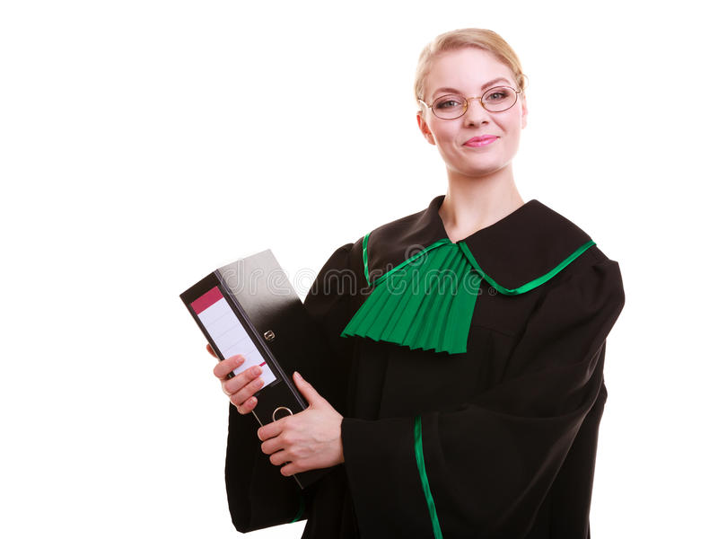 Young female lawyer attorney wearing classic polish black green gown. Law court or justice concept. Young woman lawyer attorney wearing classic polish (Poland) stock photo