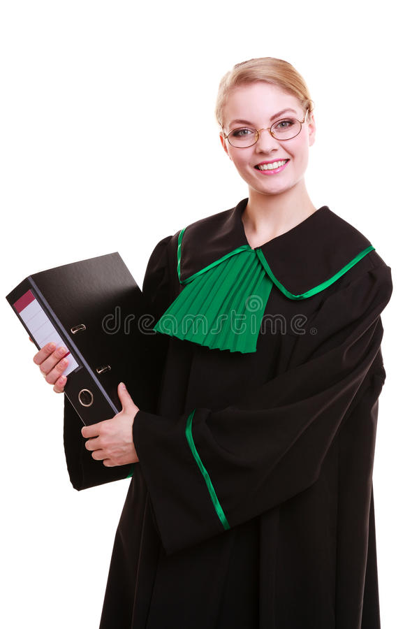 Young female lawyer attorney wearing classic polish black green gown. Law court or justice concept. Young woman lawyer attorney wearing classic polish (Poland) stock image