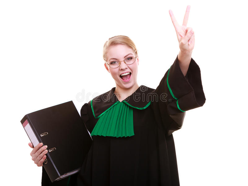 Young female lawyer attorney wearing classic polish black green gown. Law court or justice concept. Young woman lawyer attorney wearing classic polish (Poland) royalty free stock image