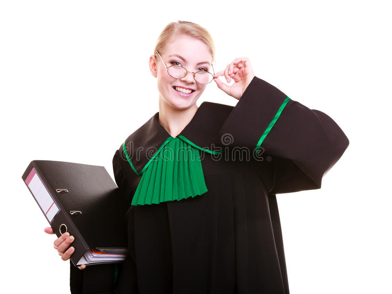 Young female lawyer attorney wearing classic polish black green gown. Law court or justice concept. Young woman lawyer attorney wearing classic polish (Poland) stock photography