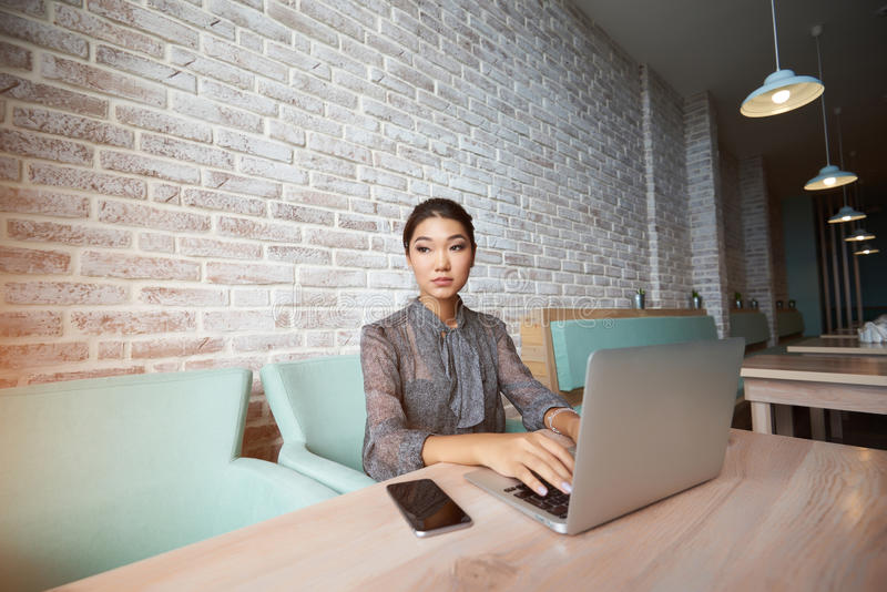 Young female manager is using portable net-book. Japanese businesswoman with laptop computer on knees is looking on her international partners what she expect in stock photos