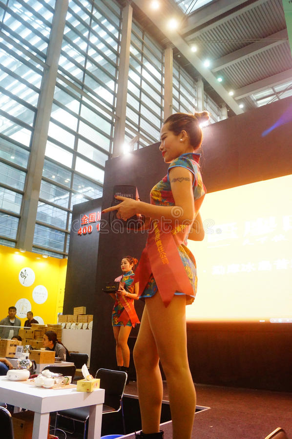 Young female models promote tea products. In Shenzhen tea industry expo, china royalty free stock photo