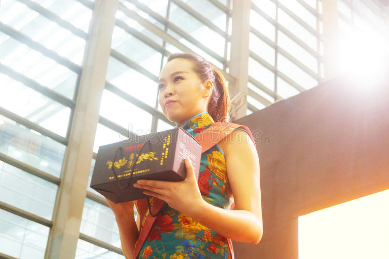 Young female models promote tea products. In Shenzhen tea industry expo, china stock photography
