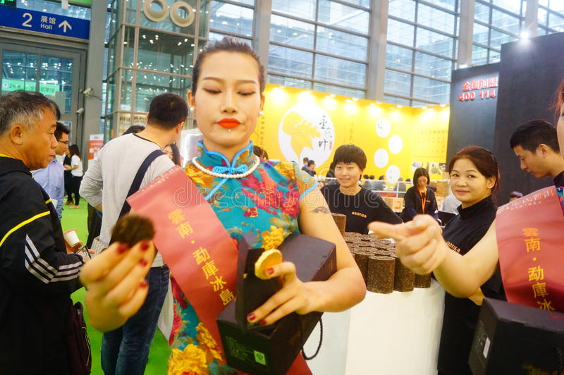 Young female models promote tea products. In Shenzhen tea industry expo, china royalty free stock photos