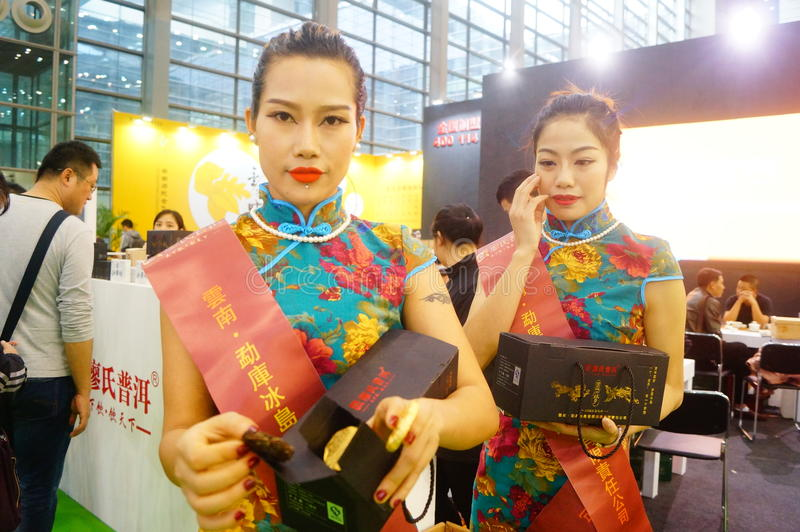 Young female models promote tea products. In Shenzhen tea industry expo, china royalty free stock images