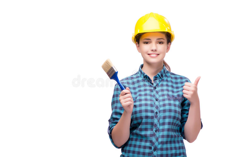 The young female painter on white royalty free stock photo