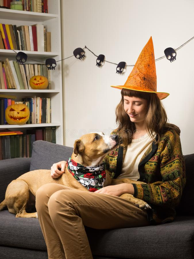Girl and her dog at sofa in living room dressed for halloween party. Young female person with pet on her knees sits at home and strokes it, with jack`o`lantern stock image