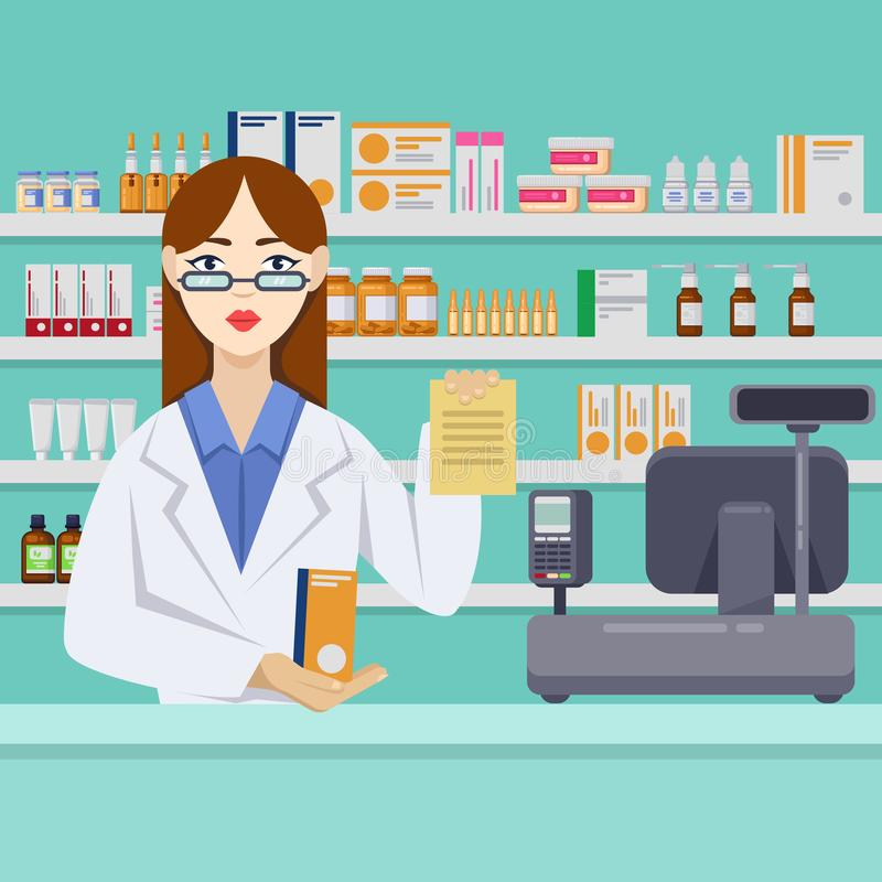 Young female pharmacist with pills behind the counter. Pharmacy or drugstore interior. Vector flat style illustration.  stock illustration