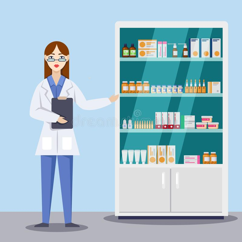Young female pharmacist showing medicines and pills. Pharmacy or drugstore interior. Vector flat style illustration stock illustration