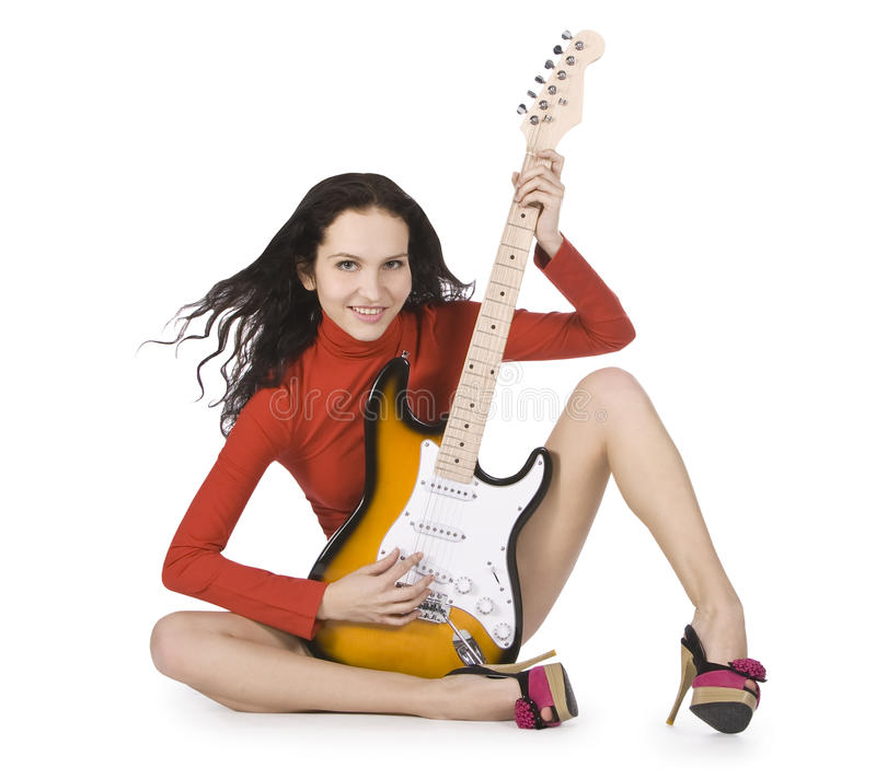 Young Female Posing With Guitar Over White Stock Image