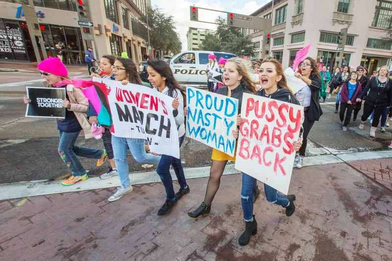 Young female protestors at Women`s March in Arizona stock photography