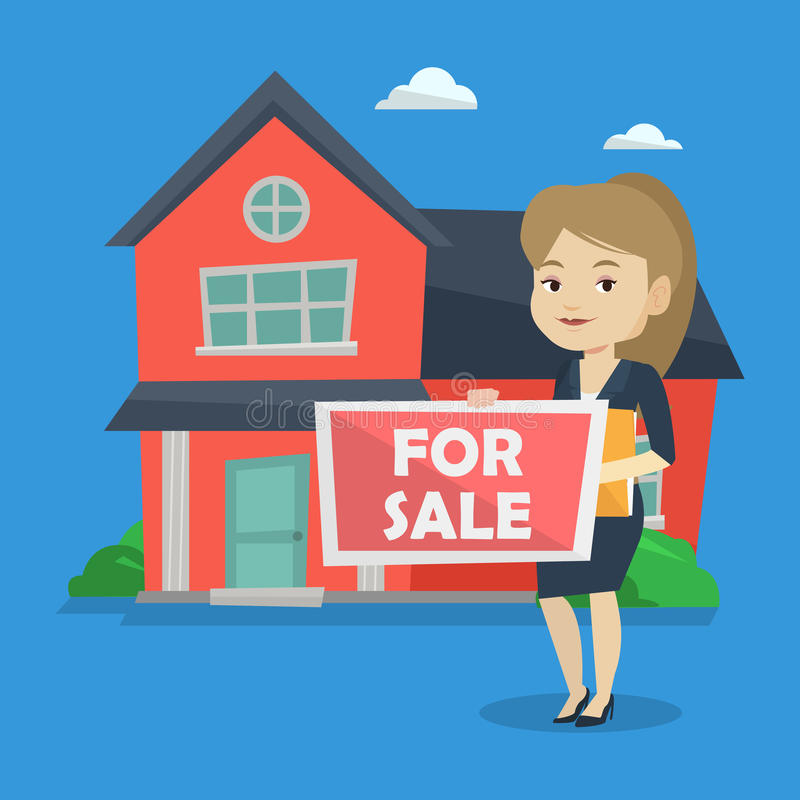 Young female realtor offering house. vector illustration