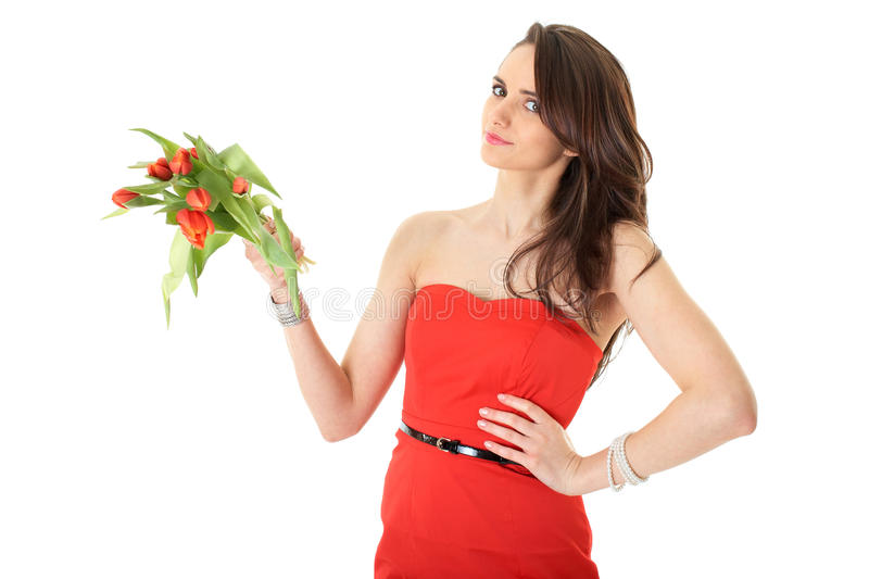 Download Young Female With Red Tulip Flowers, Isolated Royalty Free Stock Photography - Image: 18147857