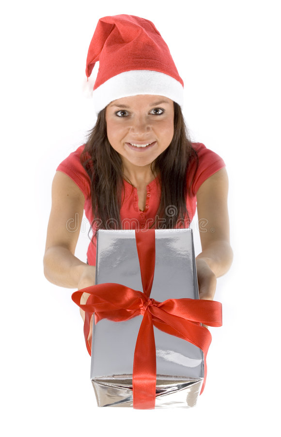 Young female Santa with gift stock photos