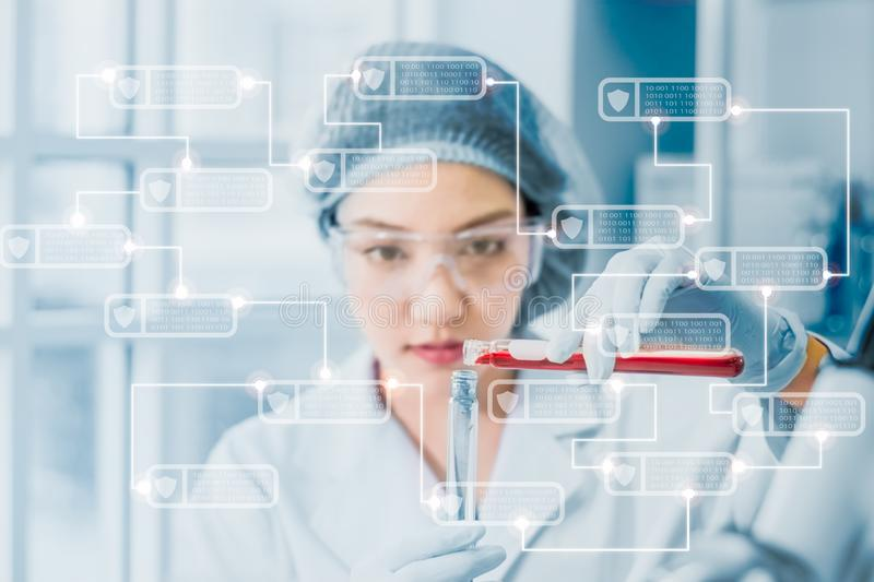 Young female scientist scientists in protective glasses and gloves testing tube chemical ingredient,test antibiotics and future royalty free stock images