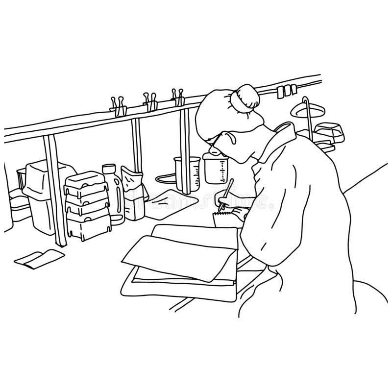 Young female scientist working in the laboratory vector illustration sketch doodle hand drawn with black lines isolated on white stock illustration