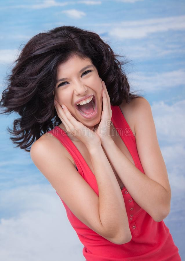 Young Female Screaming Laughing royalty free stock images