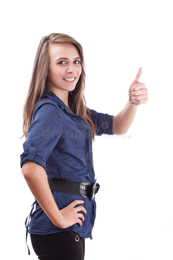 Download Young female showing ok stock photo. Image of approval - 21056442