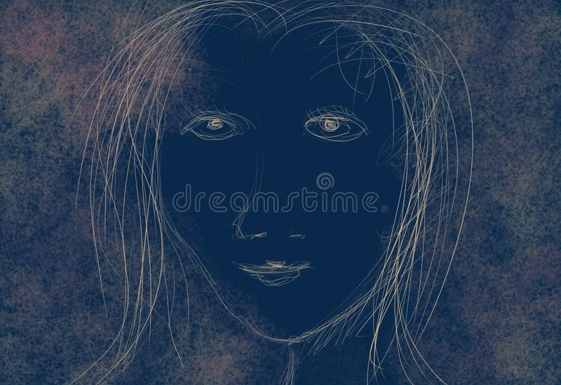 Young Female. Single young female person portrait, Illustration in negative blue, white and rose royalty free illustration