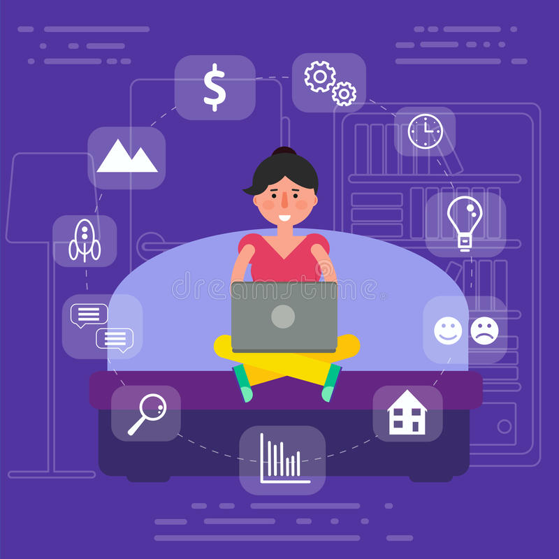 Young female sitting on sofa in room surfing wi-fi internet on l vector illustration