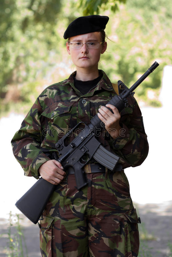 Free Young Female Soldier On Guard Stock Photo - 25974370