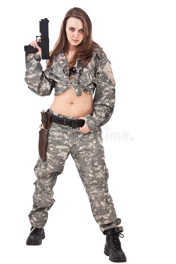 Young female soldiers with gun stock photos