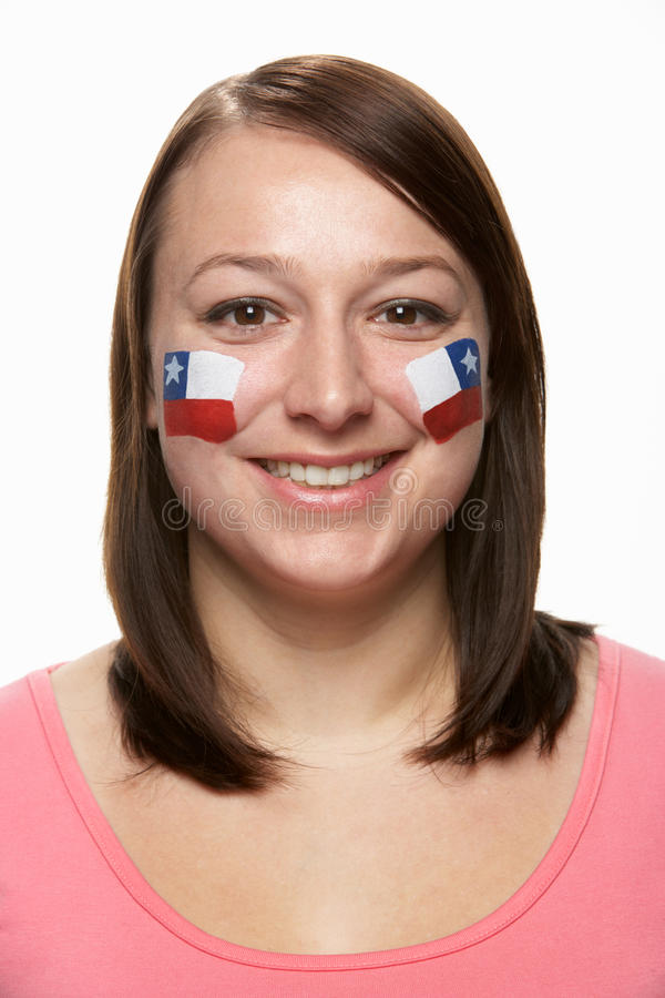 Download Young Female Sports Fan With Chilean Flag Painted Stock Image - Image: 18751695