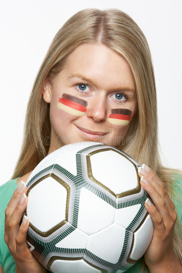 Download Young Female Sports Fan With German Flag Stock Image - Image: 18750675